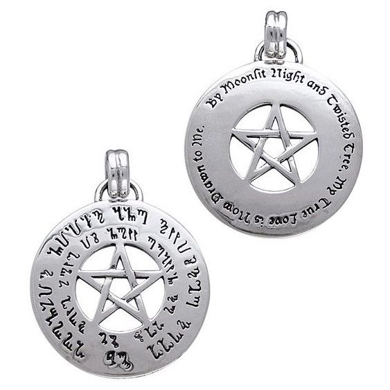 Double Sided Love Spell Pentacle Sterling Silver Talisman with Theban Script