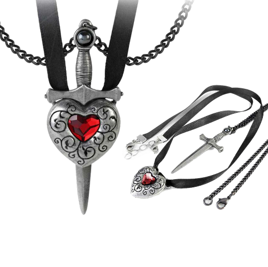 ALCHEMY LOVE IS KING COUPLES NECKLACE Sword Heart Gothic Pendant FREE GIFT BOX