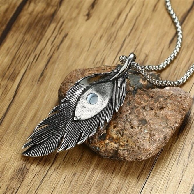 Peacock Feather and Evil Eye Steel Good Luck Protection Amulet Pendant