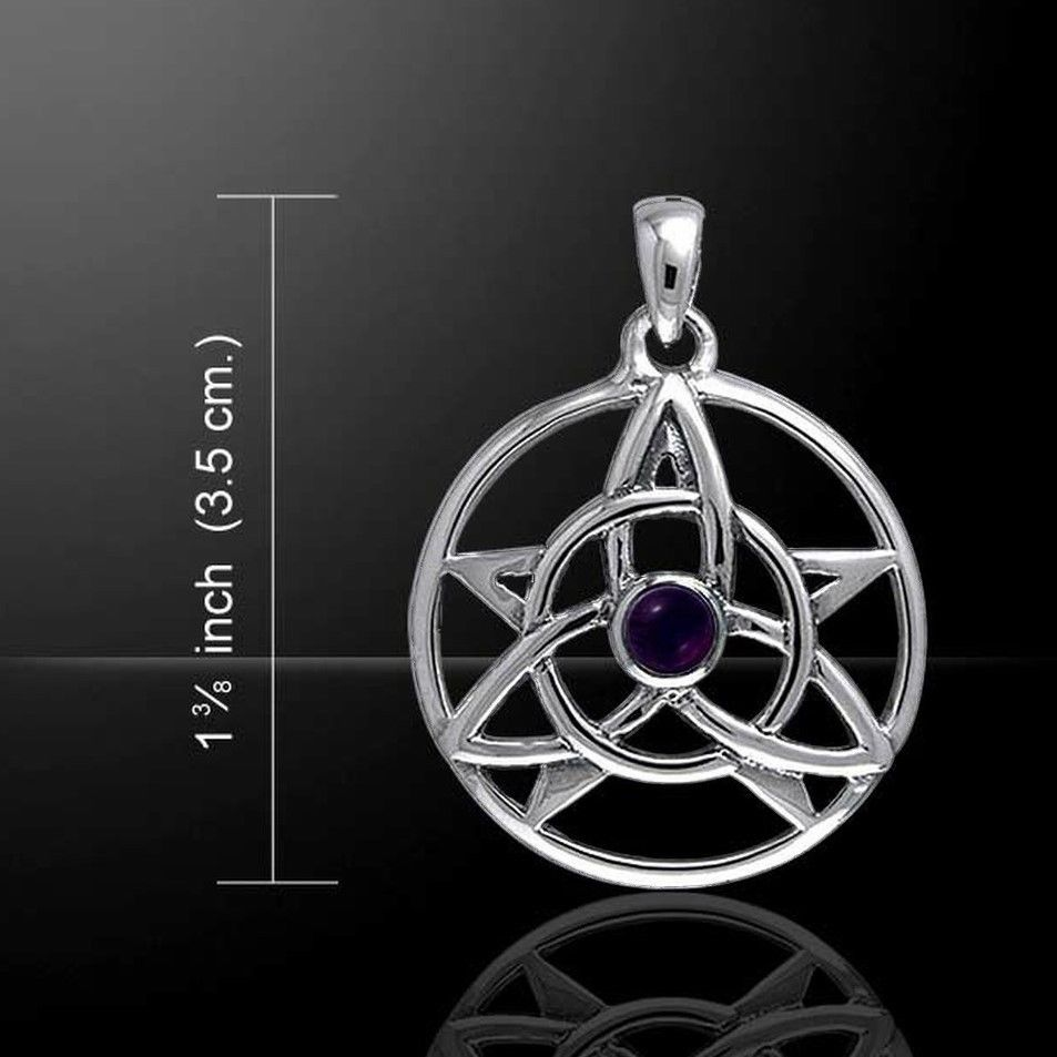 Druid Pentagram and Triquetra Sterling Silver and Amethyst Pendant